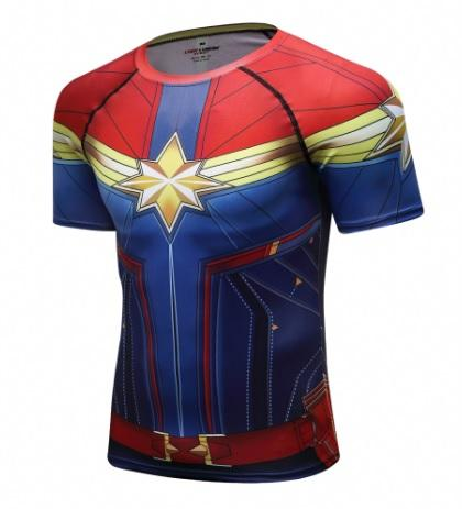 Men's Captain Marvel Carol Danvers Premium Compression Short Sleeve Rashguard-RashGuardStore