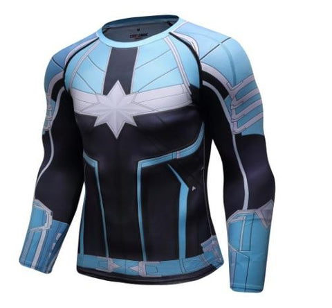 Men's Captain Marvel Carol Danvers 'Star Force' Green Kree Premium Compression Long Sleeve Rashguard-RashGuardStore
