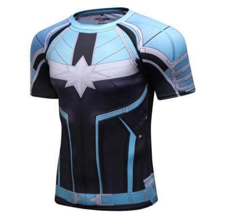 Men's Captain Marvel Carol Danvers 'Star Force' Green Kree Premium Compression Short Sleeve Rashguard-RashGuardStore