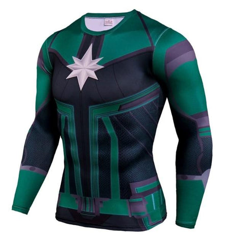 Men's Captain Marvel 'Comic Star Force' Green Kree Compression Long Sleeve Rashguard-RashGuardStore