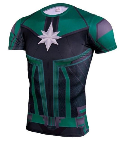Men's Captain Marvel 'Comic Star Force' Green Kree Compression Short Sleeve Rashguard-RashGuardStore