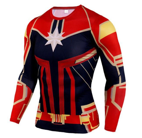Men's Captain Marvel 'Mar-Vell' Compression Long Sleeve Rashguard-RashGuardStore