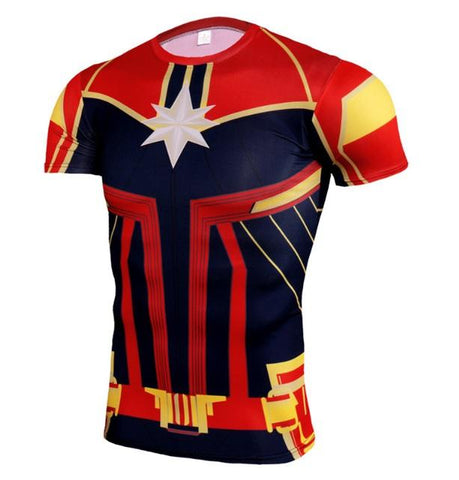Men's Captain Marvel 'Mar-Vell' Compression Short Sleeve Rashguard-RashGuardStore