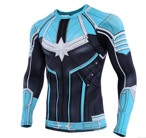Men's Captain Marvel 'Star Force' Green Kree Compression Long Sleeve Rashguard-RashGuardStore