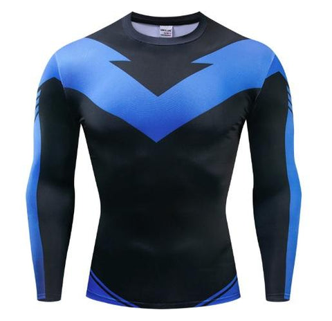 Nightwing Long Sleeve Dri-Fit Rashguard-RashGuardStore