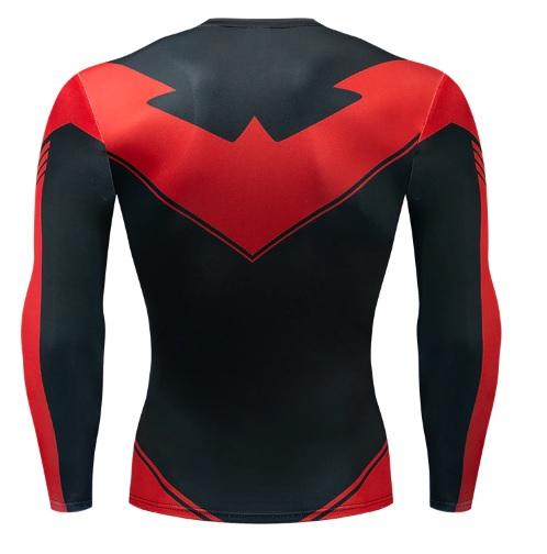 Nightwing 'Red' Long Sleeve Dri-Fit Rashguard-RashGuardStore
