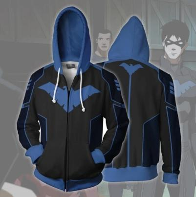 Nightwing Zip Up Hoodie-RashGuardStore