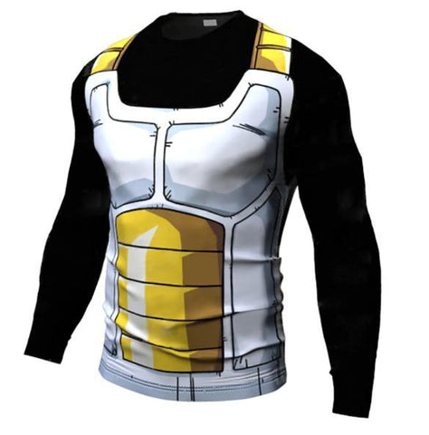 Onyx Vegeta Cell Armor Dragon Ball Z Long Sleeve Compression Rash Guard-RashGuardStore