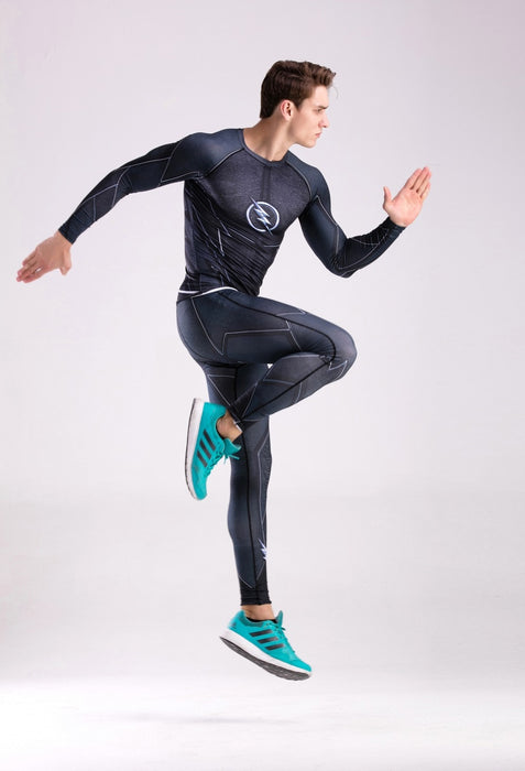 Men's The Flash 'Zoom' Elite Compression Long Sleeve Rashguard Set