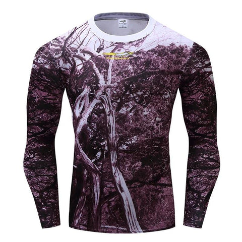 Camouflage Compression 'Wooded Camo' Long Sleeve Rashguard
