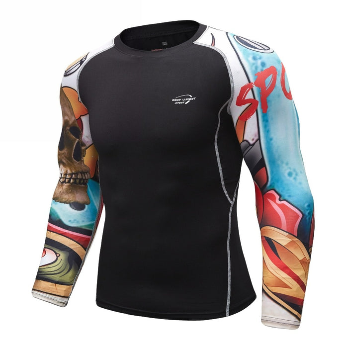 Skull Compression 'Surfs Up' Elite Long Sleeve Rashguard
