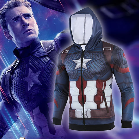 Men's Captain America Steve Rogers 'Infinity War | End Game' Premium Zip Up Hoodie