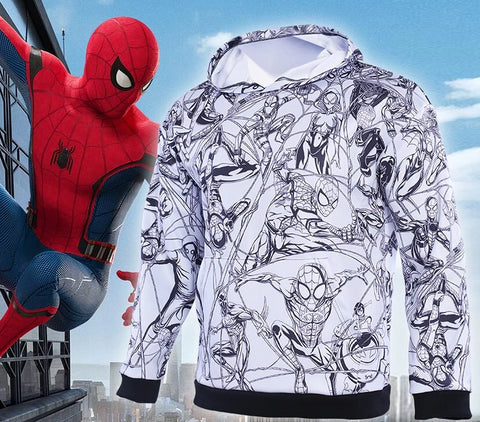 Men's Spiderman 'Hand Drawn Comic | Black and White' Premium Pullover Hoodie