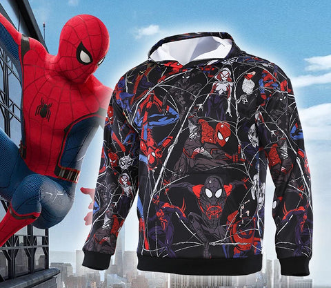 Men's Spiderman Spiderverse 'Hand Drawn Comic | Fully Colored' Premium Pullover Hoodie