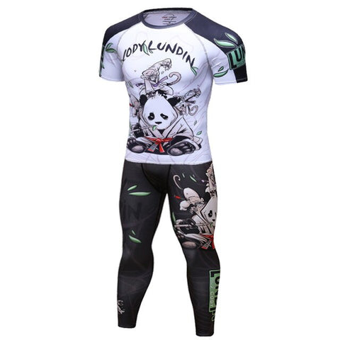 Panda Compression 'Rolling with a White Belt' Elite Short Sleeve Set