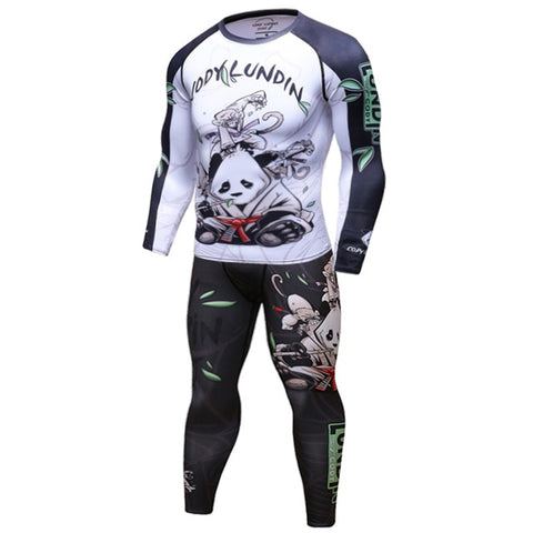 Panda Compression 'Rolling with a White Belt' Elite Long Sleeve Set