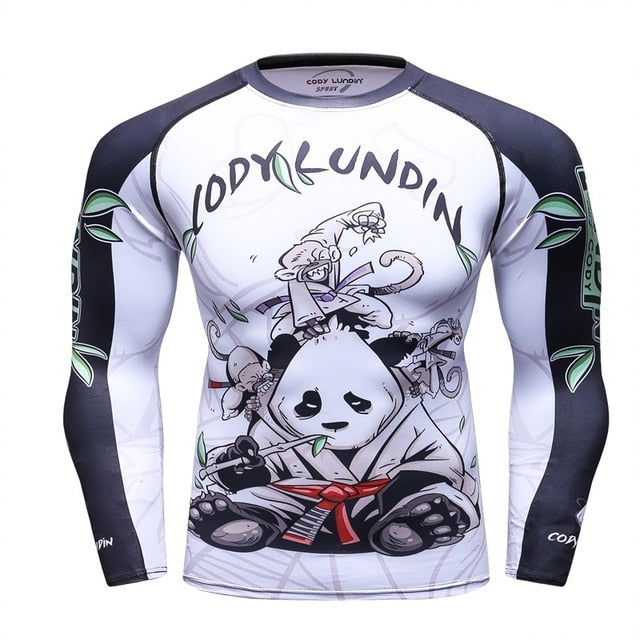 Panda Compression 'Rolling with a White Belt' Elite Long Sleeve Rashguard