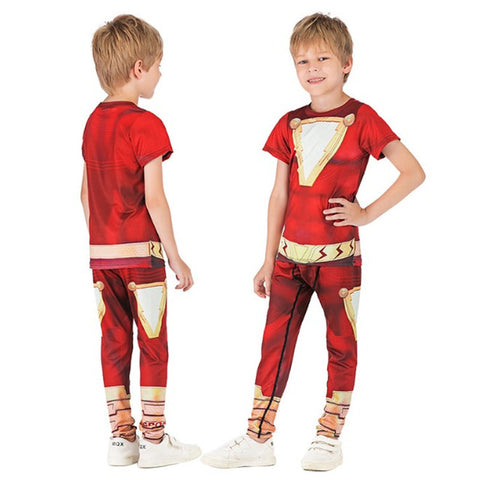 Kids Shazam Compression Rashguard Set