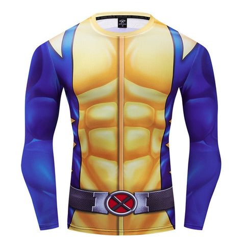 X Men Wolverine Compression '90's Uniform' Long Sleeve Rashguard