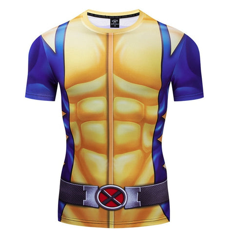 X Men Wolverine Compression '90's Uniform' Short Sleeve Rashguard