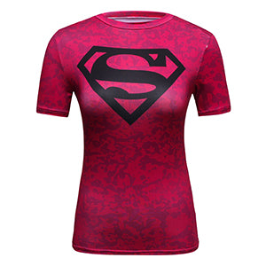 Women's Supergirl Compression 'Black S | Pink Camo' Short Sleeve Rashguard