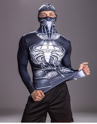Spider Compression 'Symbiote' Long Sleeve Full Hood Rashguard