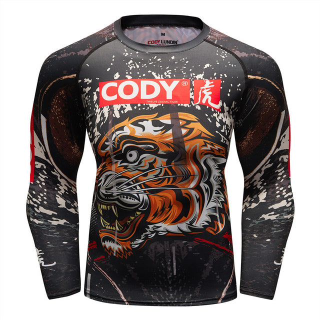 Tiger Compression 'Tiger Style' Elite Long Sleeve Rashguard