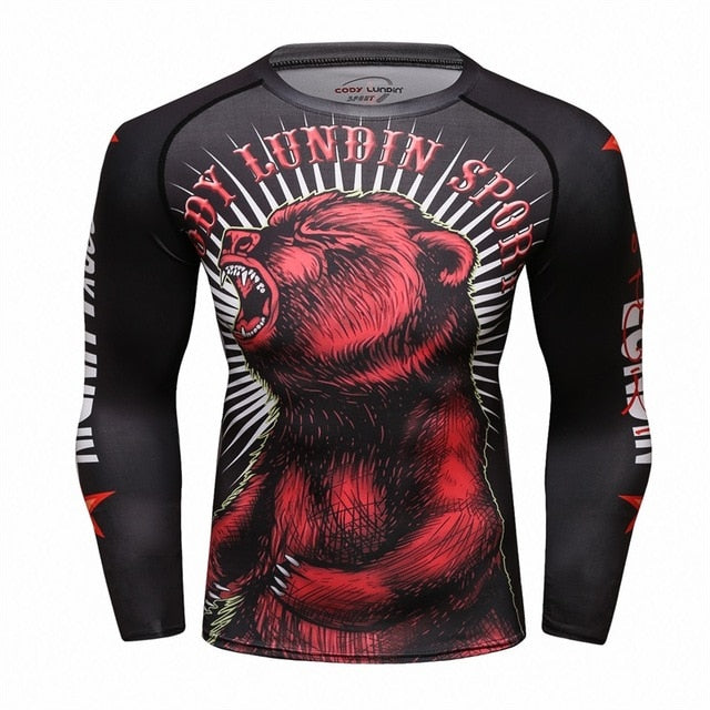 Bear Compression 'Red Scare' Elite Long Sleeve Rashguard