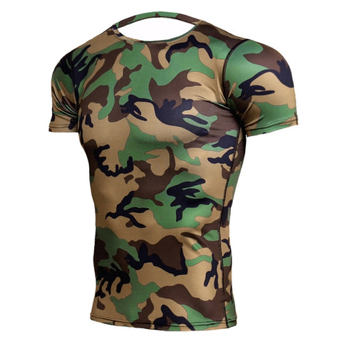 Camouflage Compression 'Jungle Camo' Short Sleeve Rashguard