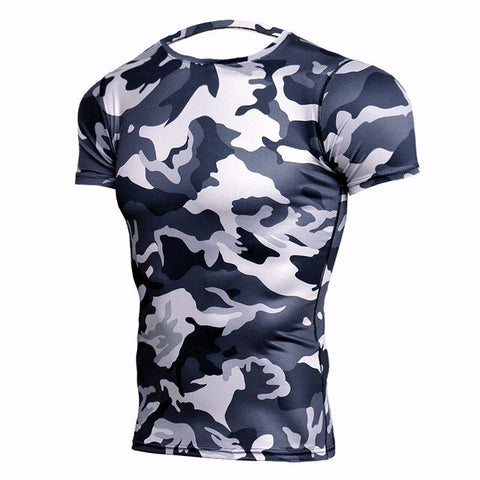 Camouflage Compression 'Winter Camo' Short Sleeve Rashguard