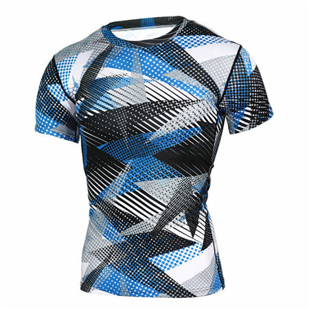 Camouflage Compression 'Blue Laser Digital Camo' Short Sleeve Rashguard