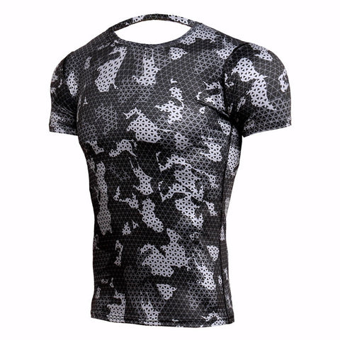 Camouflage Compression 'Winter Digital Camo' Short Sleeve Rashguard