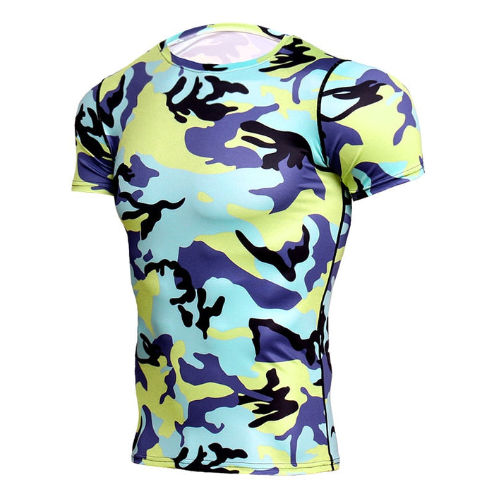 Camouflage Compression 'Tropical Camo' Short Sleeve Rashguard