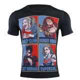Wonder Woman Compression 'Catwoman | Supergirl | Harley Quinn' Short Sleeve Rashguard