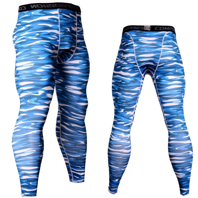 Men's Camouflage 'Ice Blue' Compression Leggings Spats