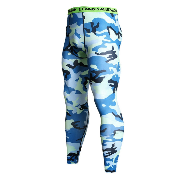 Men's Camouflage 'Blue Digital' Compression Leggings Spats