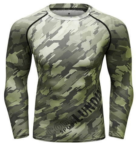 Camouflage Compression 'Digital Green' Elite Long Sleeve Rashguard