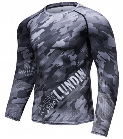 Camouflage Compression 'Digital Grey' Elite Long Sleeve Rashguard