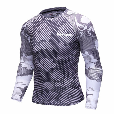 Camouflage Compression 'Greyscale' Elite Long Sleeve Rashguard