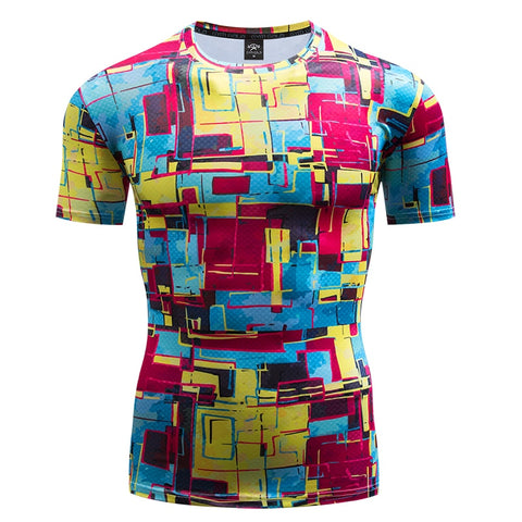 Art Compression 'Geometric Paintball' Short Sleeve Rashguard