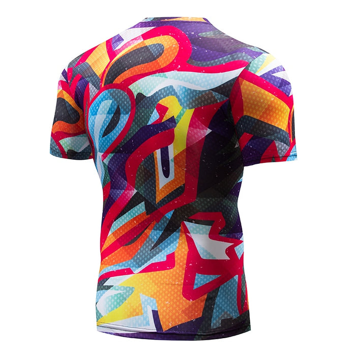Art Compression 'Liquid Fireworks' Short Sleeve Rashguard
