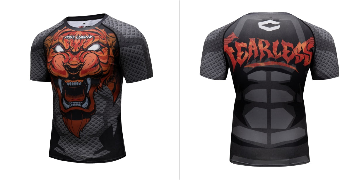 Tiger Compression 'My Jungle' Elite Short Sleeve Rashguard