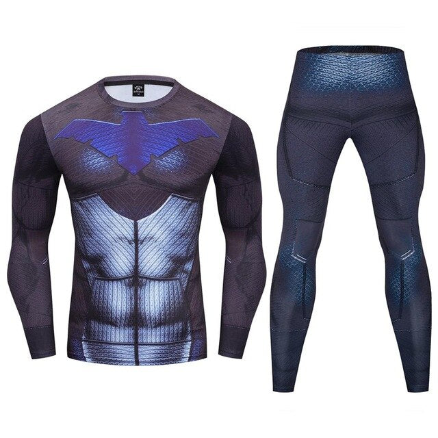 Nightwing Compression 'Young Justice | 2.0' Premium Long Sleeve Rashguard Set