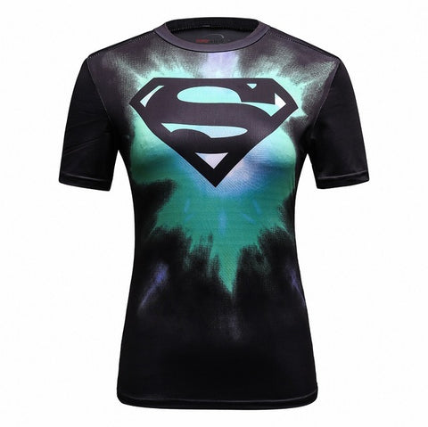 Women's Supergirl Compression 'Tie Dye/Black' Elite Short Sleeve Rashguard