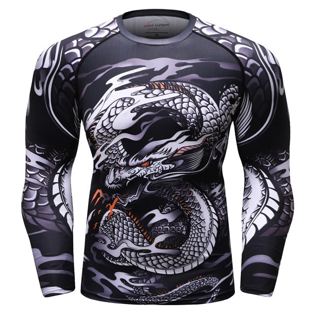 Dragon Compression 'Silver Dragon' Elite Long Sleeve Rashguard
