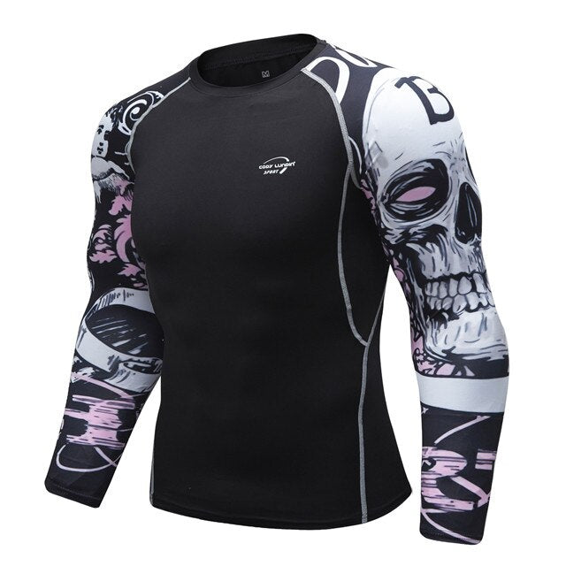Skull Compression 'RIP' Elite Long Sleeve RashGuard