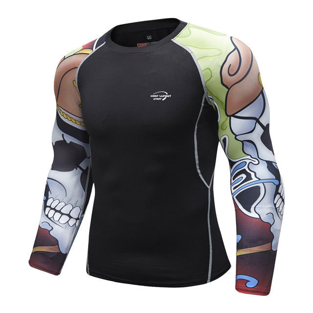Skull Compression 'Tribal' Elite Long Sleeve Rashguard