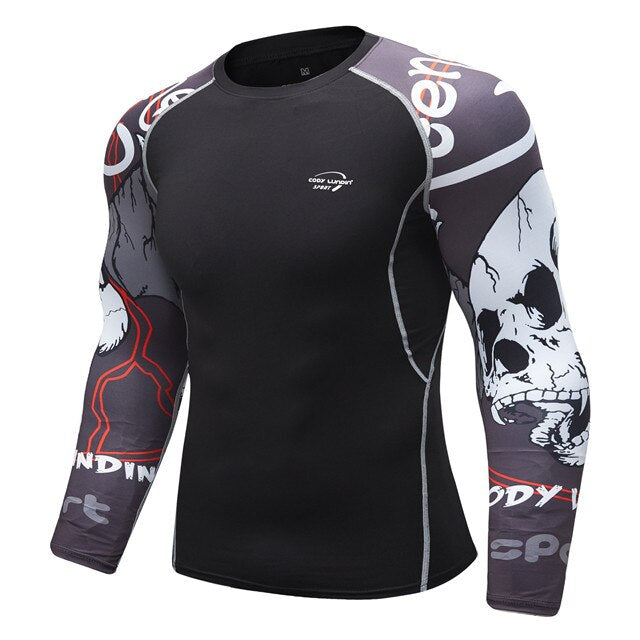 Skull Compression 'Ghost Rider' Elite Long Sleeve Rashguard