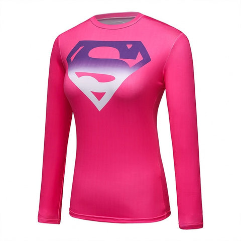 Women's Supergirl Compression 'Pink Gradient' Long Sleeve Rashguard