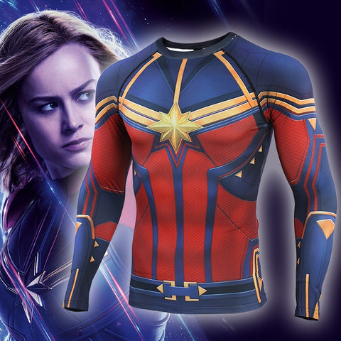 Men's Captain Marvel Compression 'End Game' Long Sleeve Rashguard